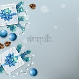 Christmas sale banner with wrapped gift boxes, pine tree leaves, baubles, fairy lights and conifer cone. Blue and white color. Place for text. Holiday vector - Starpik Stock