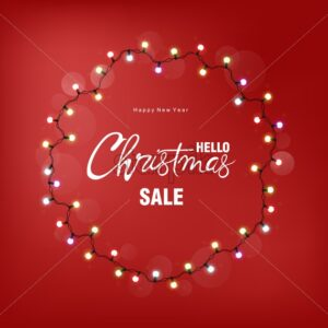 Christmas sale greeting card with white fairy lights on wreath. Red background vector - Starpik Stock
