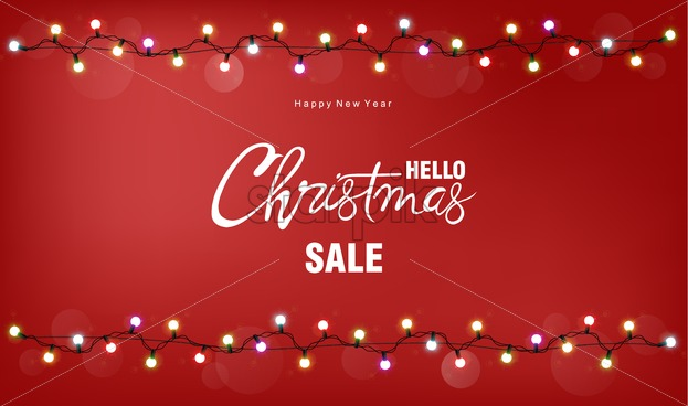 Christmas sale greeting card with white fairy lights. Red background vector - Starpik Stock