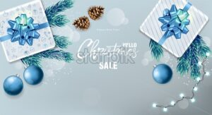 Christmas sale panoramic banner with wrapped gift boxes, pine tree leaves, baubles, fairy lights and conifer cone. Blue and white color. Holiday vector - Starpik Stock
