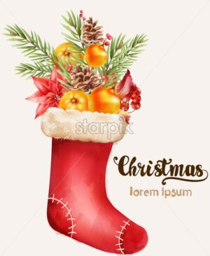 Christmas stocking full of holiday ornaments. Fir leaves, orange, red flowers and berries. Vector - Starpik Stock