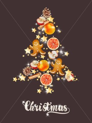Christmas tree made from shiny stars, cinnamon sticks, conifer cone, apple, orange slices, gingerbread man cookie. Holiday vector - Starpik Stock