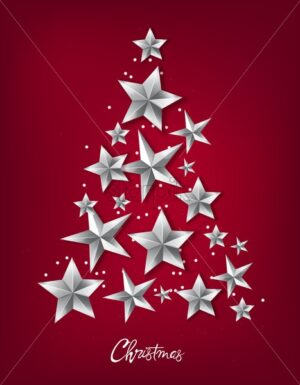 Christmas tree made from silver stars and white dots. Red background vector - Starpik Stock