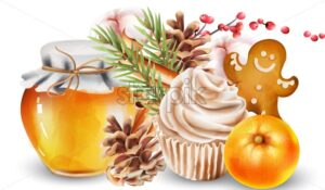 Christmas watercolor decorations with jar of honey, conifer cone, fir leaves, walnut cupcakes, orange, red berries, cotton, cinnamon sticks and gingerbread cookies. Vector - Starpik Stock