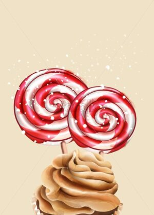 Colorful red and white holiday lollipops with snow falling on them. Whipped cream cupcake on foreground. Christmas holiday vector - Starpik Stock