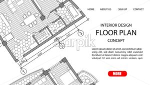 Concept floor plan of a modern apartment. Interior loft design with kitchen, bedroom, bathroom, living room and balcony. Site template vector - Starpik Stock