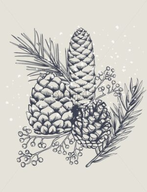 Conifer cones with fir tree leaves and berries. Snow falling. Christmas holiday sketch style vector - Starpik Stock