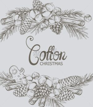 Cotton christmas composition with flowers, conifer cone, gingerbread cookie, fir tree leaves and cinnamon sticks. Holiday outline sketch style vector - Starpik Stock
