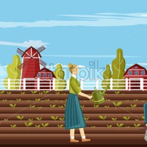 Couple of farmer people working in the garden. Red barn, blue sky and green trees on background. Family agriculture business idea vector - Starpik Stock