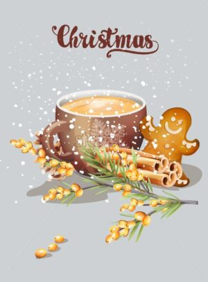 Cup with cappuccino and christmas ornaments. Cinnamon sticks, gingerbread cookie, yellow berries. Snow falling. Holiday vector - Starpik Stock