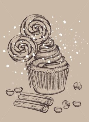 Cupcake with lollipops covered in snow. Cinnamon sticks, walnut and coffee beans on foreground. Christmas holiday sketch style vector - Starpik Stock