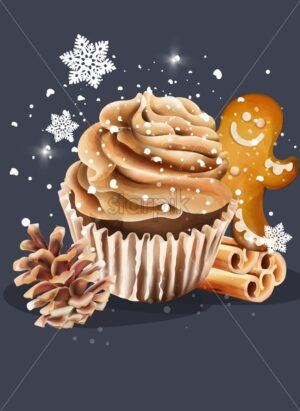 Cupcake with whipped cream. Snow falling from upside. Conifer cone, cinnamon sticks and gingerbread cookie. Christmas holiday vector - Starpik Stock