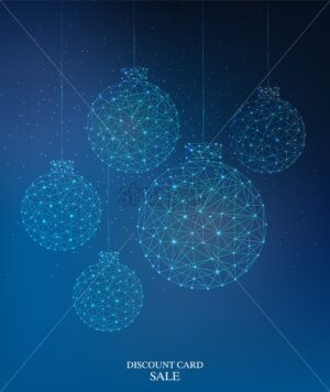 Cybernetic style christmas baubles. Connected dots. Discount card sale text. Vector - Starpik Stock