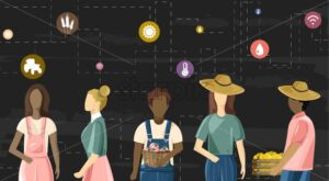 Family of farmer people wired to future farming technologies icons. Dark background. Agriculture wireless business idea vector - Starpik Stock