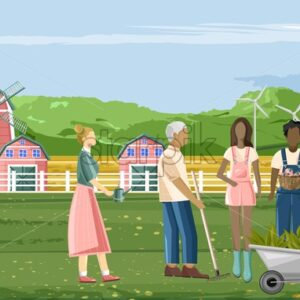 Family of farmer people working in the garden. Man carrying wheelbarrow and peppers. Red barn, blue sky and green trees on background. Agriculture business idea vector - Starpik Stock