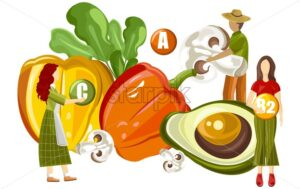 Farmers holding vegetables and advertising vitamin complex with colorful peppers, half avocado, mushrooms and lettuce. Health Vector - Starpik Stock