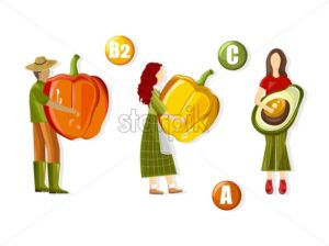 Farmers holding vegetables and advertising vitamin complex with colorful peppers, half avocado. Health Vector - Starpik Stock