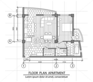 Floor plan of a modern apartment. Interior design with kitchen, bedroom, bathroom, living room and balcony. Vector - Starpik Stock