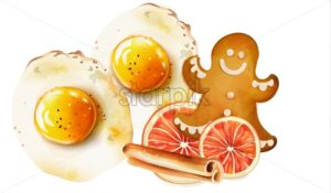 Fried eggs with spices and cinnamon sticks, gingerbread cookie, lemon snacks. Christmas morning food vector - Starpik Stock