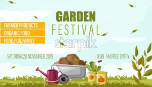 Garden festival advertisement banner with a wheelbarrow in a meadow field, watering pot and vegetable seeds. Autumn agricultural vector - Starpik Stock