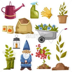 Gardening tools set with watering can, pumpkin seeds, wheelbarrow, soil, gloves, spray, dwarf, lantern, plants and berries. Autumn season activities vector - Starpik Stock