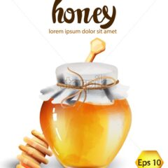 Glass jar with honey and wood stick. Place for text. Watercolor vector - Starpik Stock