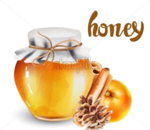 Glass jar with honey, cinnamon sticks, orange and conifer cone. Watercolor christmas vector - Starpik Stock