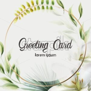 Golden wreath greeting card with green leaves, lily flowers and palm. Watercolor Vector composition - Starpik Stock