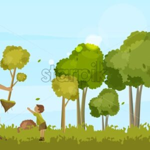 Grandfather planting a tree with his grandson in a green summer forest. Ecology idea Vector - Starpik Stock