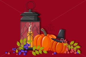 Halloween decorations with witch hat, pumpkins, blue and red berries, light up lamp with candle. Red background. Holiday Vector - Starpik Stock