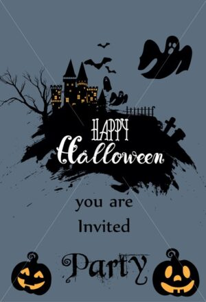 Happy halloween invitation card with light up pumpkins, castle, ghost and dark forest. Holiday vector - Starpik Stock