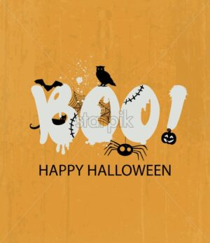 Happy halloween with frightening boo text. Owl, pumpkins, spiders and bats decorations. Holiday vector - Starpik Stock