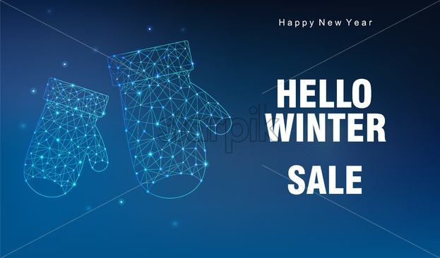 Hello winter sale banner with innovative style gloves and sparkles. Blue background. Vector - Starpik Stock