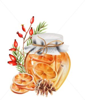 Honey jar with orange slices and cinnamon sticks inside. Pine cone, fir tree leaves and red berries decorations - Starpik Stock