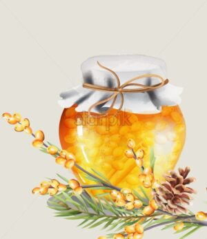Honey jar with yellow berries and cinnamon inside. Green leaves and conifer cone on foreground. Christmas holiday vector - Starpik Stock