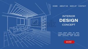 Interior design concept site template with blueprint sketch of a modern living room. Architectural Vector - Starpik Stock
