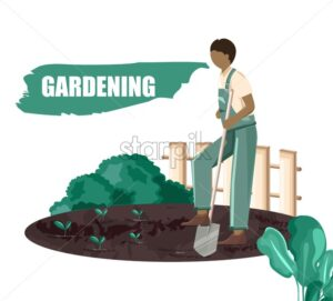 Man digging holes for planting seeds in the garden. Green bushes and fence on background. Gardening vector - Starpik Stock