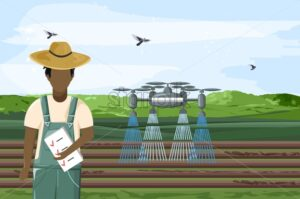Man with check list in hands controlling a big drone that is watering the field. Birds flying in the sky. Future of agriculture idea. Technology vector - Starpik Stock