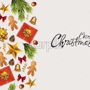 Merry Christmas panoramic banner with wrapped gift boxes, pine tree leaves, baubles, fairy lights and conifer cone. Colorful decorations. Holiday vector - Starpik Stock