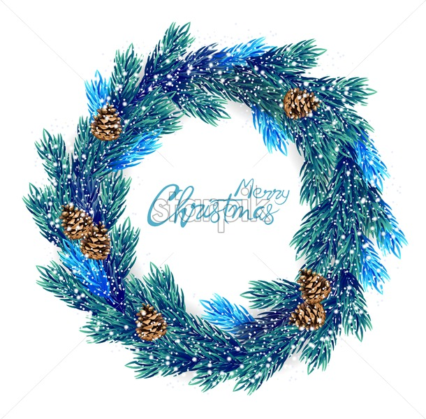 Merry Christmas wreath with blue and green pine tree leaves. Conifer cone ornament. Vector - Starpik Stock