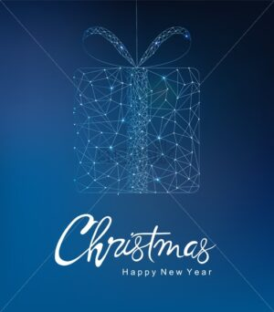 Merry christmas and happy new year greeting card banner with innovative style gift box. Connected dots. Blue background - Starpik Stock