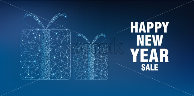 Merry christmas and happy new year sale banner with innovative style gift box. Connected dots. Blue background - Starpik Stock