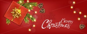 Merry christmas banner with golden ribbon gift box, conifer cones, fir tree leaves and warm fairy lights. Red background vector - Starpik Stock