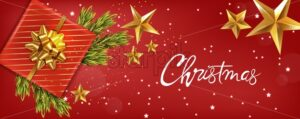 Merry christmas banner with golden ribbon gift box, fir tree leaves and golden stars. Red background vector - Starpik Stock