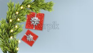Merry christmas banner with golden ribbon gift box, fir tree leaves and warm fairy lights. Silver background vector - Starpik Stock