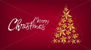 Merry christmas banner with golden stars fir tree. Red background vector - Starpik Stock