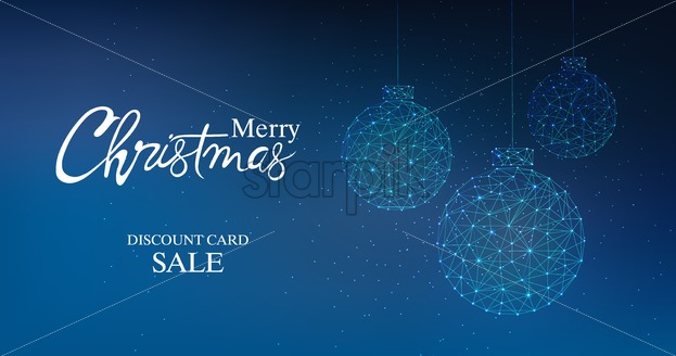 Merry christmas discount card sale banner with innovative style bauble. Connected dots. Blue background - Starpik Stock