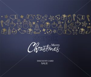 Merry christmas discount sale card full of holiday decorations. Gingerbread cookies, fir trees, gloves, socks, gift boxes, candles and lollipops. Blue background vector - Starpik Stock