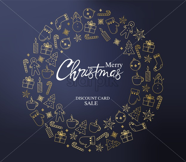 Merry christmas discount sale card with a wreath full of holiday decorations. Gingerbread cookies, fir trees, gloves, socks, gift boxes, candles and lollipops. Blue background vector - Starpik Stock