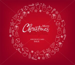 Merry christmas discount sale card with a wreath full of holiday decorations. Gingerbread cookies, fir trees, gloves, socks, gift boxes, candles and lollipops. Red background vector - Starpik Stock